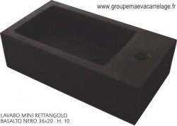 Lavabo mini rettanglo basalto nero 36x20 h 10