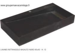 Lavabo rettangolo basalto nero 85x45 h 12