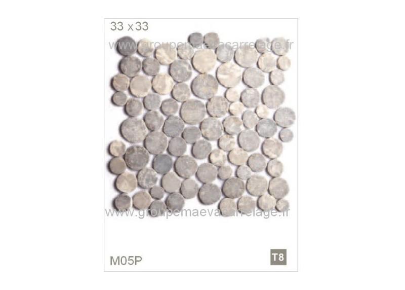 Galet pierre gris clair 33x33. Vente en ligne M05P Star Mosaic