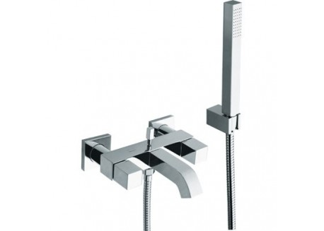 MELANGEUR BAIN/DOUCHE QUADRI + KIT Douchette/Flexible/Support CHROME QD 10051