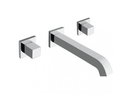 Mezclador lavabo quadri mural 3 agujeros croman + vaciado up&down cuando 23251