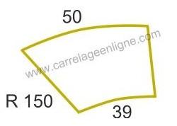 Margelle profil plat ou marche bord arrondi en pierre reconstituée FONTVIEILLE Courbe R150 ARTEMAT 2960 MPCR