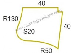 Margelle profil plat ou marche bord arrondi en pierre reconstituée FONTVIEILLE Angle sortant courbe R130/R50/S20 (droit ou gauch