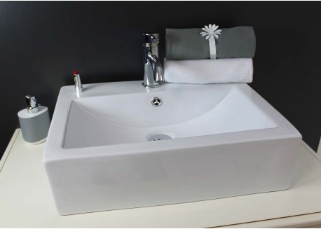 Vasque céramique blanche 52x41,5x16 CUBIC Aqua Plus
