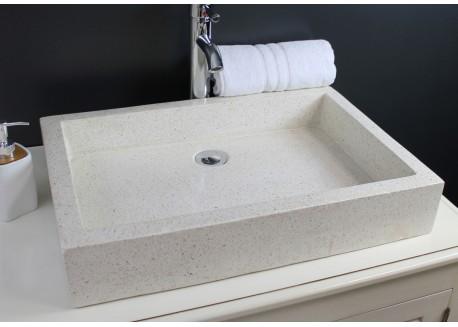 Vasque terrazzo pierre crème 60x40 TIMBRE 60 Aqua Plus