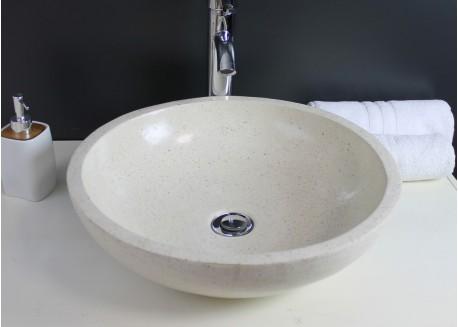 Vasque terrazzo pierre crème Ø40x13 GELA Aqua Plus