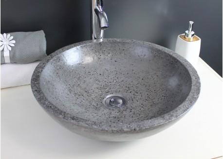 Vasque terrazzo gris ciment Ø40x13 PETRA Aqua Plus