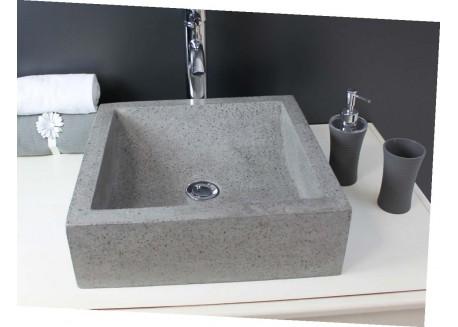 Vasque terrazzo gris ciment 42x42 KIARA Aqua Plus