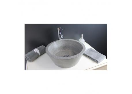 Vasque terrazzo gris ciment Ø40x15 BLOOM Aqua Plus