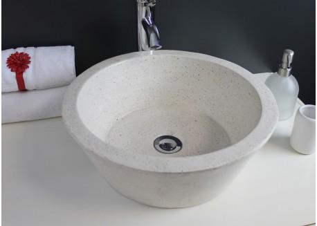 Vasque terrazzo pierre crème Ø40x15 BLOOM Aqua Plus