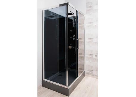 Cabine de douche hydromassante rectangulaire réverssible accès d'angle 80x120 DELLINE Aqua + - SACHCABDELLI