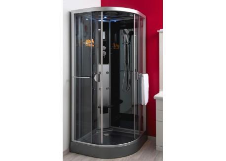 Cabine de douche hydromassante 90 cm 1/4 de cercle accès d'angle NED Aqua + - SACHCABNEDRG90