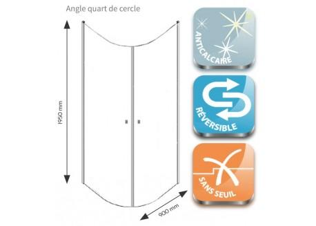 Angle coulissants quarts de cercle 90 1/4 C cm FRISCO Aqua + - SACHQFRISCEPV90