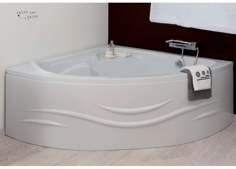 Baignoire d 39 angle acrylique 140 x 140 fany aqua sachbaq140 - Pose baignoire acrylique ...