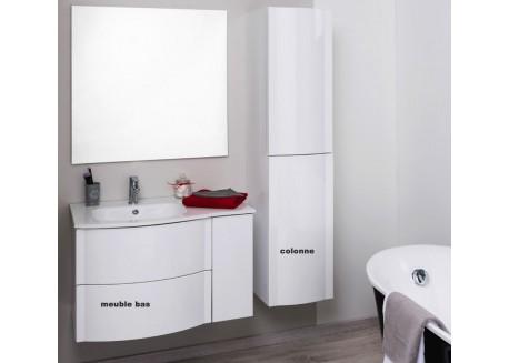 Meuble salle de bain suspendu 80 avec vasque RONY Aqua + - SACHMRON80DRBLC