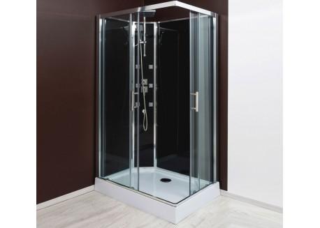 Cabine de douche hydromassante 90 cm 1/4 de cercle accès d'angle SELIA Aqua + - SACHCABSELIA90C