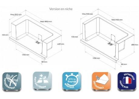 Remplacement de baignoire monobloc En niche CONCEPT-O Monobloc Aqua + - SAFRCONMONNICH