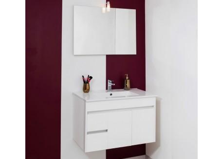 Meuble salle de bain suspendu 60 blanc + vasque NINA Aqua + - SAPOMNINA60B