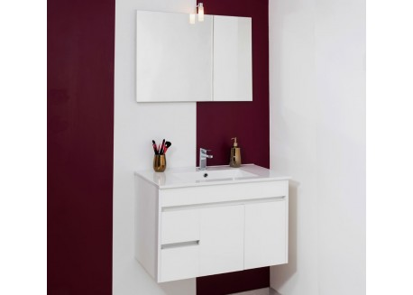 Meuble salle de bain suspendu 800 blanc + vasque NINA Aqua + - SAPOMNINA80B
