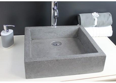 Vasque terrazzo gris ciment 40x40 TIMBRE 40 Aqua Plus
