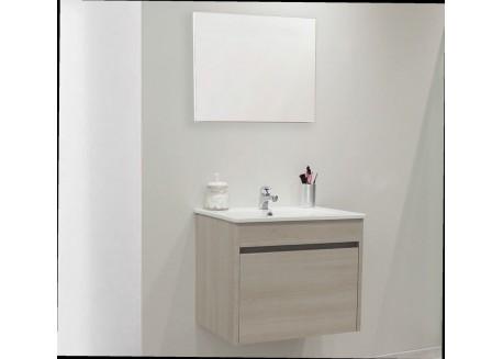 Meuble salle de bain suspendu 60 avec vasque et miroir MAPLE Aqua + - SAPOMMAPOL60
